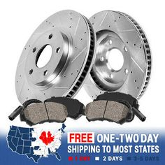 For 1999 Ford Expedition F-150 Front Rear eLine Gold Drilled Brake Rotors