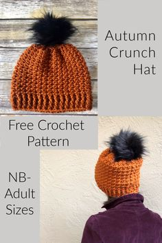 Autumn Crunch Hat a Free Crochet Pattern - ChristaCoDesign Materials yds med worsted weight yarn, I used Lion Brand's Vanna's Choice in Rust. Crochet Pattern Free, Easy Crochet Hat Patterns, Crochet Gratis, Crochet Beanie Pattern, Booties Crochet, Doll Patterns, Crochet Toddler Hat, Crochet Hat For Women, Crochet Baby