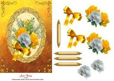 Yellow & White Roses On Gold