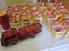 Firetruck birthday party- so many great ideas here. Hope one of the kids likes firetrucks one day!