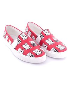 Look at this Red & White Cats Slip-On Sneaker on #zulily today!