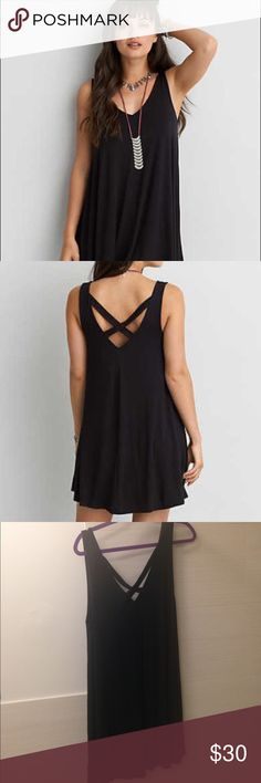 Like new! Soft and Sexy Cross-Back Dress Size XL black soft and sexy shift dress. Cross-back style. Soft and comfy!!! American Eagle Outfitters Dresses Mini