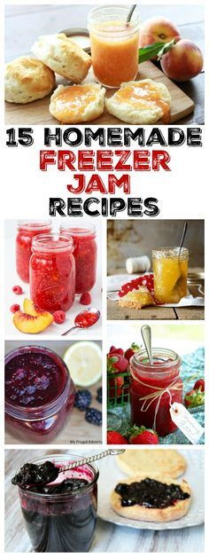 15 EASY homemade freezer jam recipes: strawberry jam blackberry jam peach jam raspberry jam nectarine jam plum jam blueberry jam and MORE! Peach Jam, Plum Jam, Freezer Cooking, Freezer Meals, Freezer Recipes, Nectarine Jam, Apricot Freezer Jam Recipe, Refrigerator Jam, Gourmet