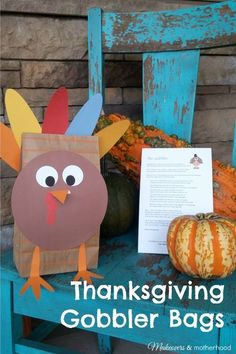 Even if you can't share turkey around the table with all the special people in your life, you can share a Thanksgiving Gobbler Bag of treats with them. Thanksgiving Activities For Kids, Thanksgiving Crafts For Kids, Holiday Crafts, Thanksgiving Snacks, November Thanksgiving, Holiday Activities, November Crafts, December, Diy For Kids