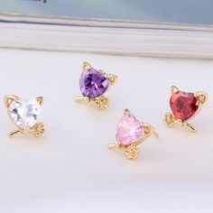 7mm 18K Gold Plated Fashion Cute Cat Inlaid Zircon Ladies Copper Earrings