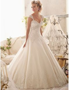 Organza Sweetheart A-line Wedding Dress with Detachable Shoulder Straps - Bridal Gowns - RainingBlossoms