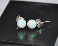 Ball Stud Post earrings 6mm stone Opal by naturalstonesjewels, $25.50