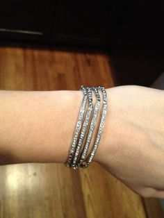 Pave Delicate Tube Bracelet in SIlver by derng on Etsy, $11.00 #derng