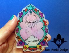 Leo Tolstoy Brooch Portrait,pin,Russian Author hand drawn portrait pin in Persian Lotus brooch pin by BluePersianDesign on Etsy