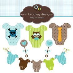 Baby Boy Onesies Clipart Commercial Use by ErinBradleyDesigns, $5.00