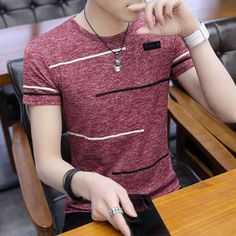 Shop & Buy Korean Short Sleeve T Shirt Men O Neck Polyester Mens T Shirt Summer Cool Tee Male Slim Casual Boys Tee Shirt Homme Online from Aalamey Boys T Shirts, Tee Shirts, Tee Shirt Homme, Shirt Men, Designer Clothes For Men, Summer Tshirts, Cool Tees, Outfits For Teens, Like4like