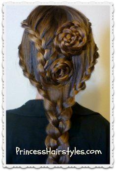 Lace #BraidRose Hairstyle Tutorial princesshairstyles.com