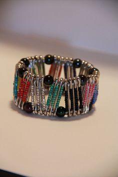 Multi color Zig Zag Pinlet safety pin bracelet by PinPrikStudio, $17.00