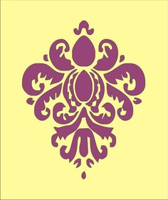 Wall Stencil damask 7 flourish design element, image is approx. 7 x 5.5 inches. $7.95, via Etsy.