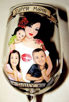 Custom Super Mom Hand Painted Wine Glass by MySistersBoutique, $35.00+