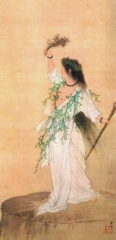 Ame-no-Uzume (天宇受売命 or 天鈿女命) is the Japanese Goddess of merrymaking and dance. She is the one who lured the sun Goddess Amaterasu to come out of her self-imposed exile in a cave, returning sunlight to the world. She overturned a washtub and began to dance on it, to the delight of the surrounding Gods and Goddesses. Their laughter at her antics made Amaterasu curious enough to step out of her cave. (Art by Kajita Hanko,『天宇受売命』, 1897, Fukutomi Taro collection)