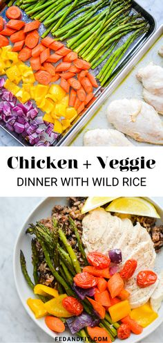 This chicken and roasted veggie dinner (served alongside wild rice) is so simple, healthy, and delicious. Baked Chicken Breast, Veggie Dinner, Wild Rice, Baking, Roast, Veggies, Healthy Recipes, Vegetable Recipes, Bakken