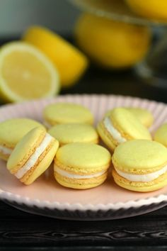 MB note: try adding some cream cheese.This Lemon Macaron Recipe is a masterpiece - and with it you too can make French Meringues worthy of any bakery! I'm sharing all the tips and tricks you need to make gorgeous lemon cookies successfully. Lemon Macaron Recipe, French Macarons Recipe, Vanilla Macarons, Macaroon Recipes, Dessert Recipes, Oreo Filling, Yellow Foods, Lemon Cookies, Macaroon Cookies