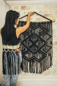 absolutely LOVE this black Macrame Wall Hanging.  Actually i love everything this shop has to offer.