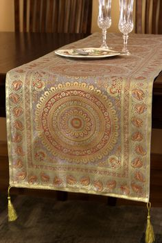 Exotic Oriental Table Runner in Sparkling Silver. http://www.banarsidesigns.com/table-runners/exotic-oriental-table-runner/