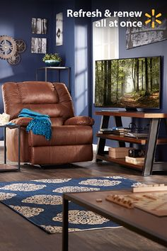 """Redefine your living room & put the fun back in tax refund with these great electronics and furnishing ideas from Walmart. It's a great time of year to kick back in a deluxe recliner and enjoy shows & movies on a Samsung 50"""" 4K TV. Center your room around a stylish coffee table and show off your new electronics with a 70"""" TV stand.  Looking for tips on the best ways to spend your refund? Get low prices on home items and everything else on your tax time shopping wish list at Walmart."""