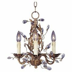 """Ornate 3-light mini chandelier in Etruscan gold with a floral-inspired design and prism accents.   Product: Mini chandelierConstruction Material: Metal and glassColor: Etruscan goldFeatures:  Includes 180"""" of wire36"""" Chain length Accommodates: (3) 60 Watt candelabra bulbs - not includedDimensions: 14.5"""" H x 14"""" DiameterNote: Assembly required"""