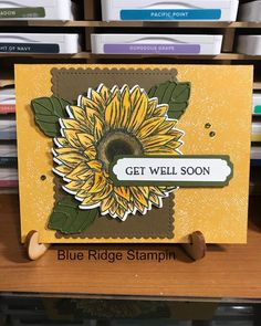 Sunflower Cards, Diy And Crafts, Paper Crafts, Scrapbook Cards, Scrapbooking, Stampin Up Catalog, Die Cut Cards, Get Well Cards, Card Sketches