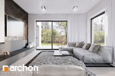 Dom w starkach Modern House Design, Living Room Decor, Bungalow, Couch, Curtains, Furniture, Home Decor, Blue Prints, Country