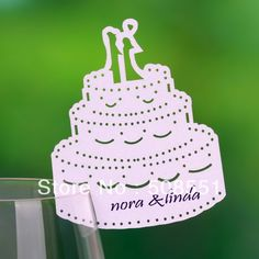 Cutout Couple Cake Design Wedding Party Place Cards Wine Galss Name Card 12pcs