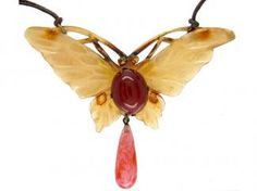 Art Nouveau French Carved Horn Butterfly Pendant by Bonte