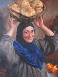 Beautiful smiling egyptian woman , who has just baked the bread she is carrying . Portrait Art, Portraits, Middle Eastern Art, Arabian Art, Egypt Art, Cairo Egypt, Islamic Paintings, Painter Artist, Art Drawings For Kids