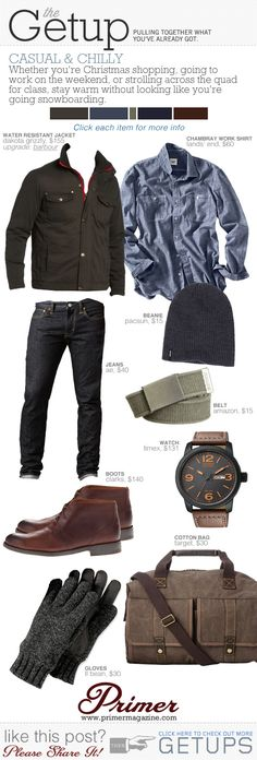 The Getup: Chilly & Casual | Primer I like the jacket shirt and boots especially the jacket