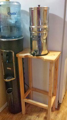 DIY Berkey water filter stand with storage rustic pie cabinet