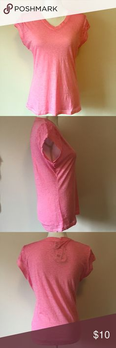 """Exist NWT Burnout V-Neck Tee in Ice Pink Incredibly soft and stretchy Exist burnout v-neck Tee in """"ice pink"""", NWT!  60% cotton/40% polyester blend, light weight, perfect addition to your warm weather wardrobe!  Fabric is semi-sheer.  Approx measurements 18.5"""" pit to pit, 24"""" length laying flat Exist Tops Tees - Short Sleeve"""
