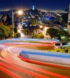 Time lapse on Lombard Street at night, San Francisco, California