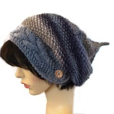 Blue Slouchy beanie  hats hand knitted slouch beanie knitted hat winter hat wool beany pixie hat, festival hat, ladies woolly elven  beanie