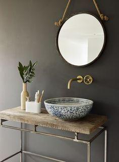 London basin company handcrafted porcelain sink set in vintage wood Bathroom Sink Bowls, Bathroom Toilets, Small Bathroom, Bathroom Pink, Bowl Sink, Bathroom Mirrors, Master Bathrooms, Kitchen Sink, Nature Bathroom
