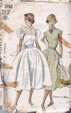 1950s Vintage Sewing Pattern Simplicity 3765 Size 16 Bust 34.