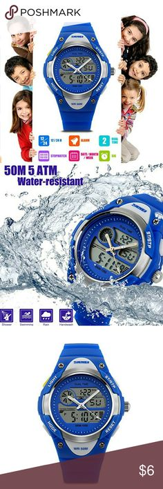 Kids Blue Sports Watch WATERPROOF FUNCTION: 164 ft waterproof (50 M) - 5ATM. Perfect for all kind of sports, indoor and outdoor activities or daily daily use.   NOTE: please DO NOT press any buttons in the water.  DESIGN FOR SPORTS. MULTI-FUNCTION. EL BACKLIGHT. 12/24H, Alarm, Hourly Chime, Dual Time, Date-Month-Week, Stopwatch. Perfect for indoor and outdoor activities!  *BUNDLE WITH OTHER ITEMS TO SAVE ON SHIPPING & 15% OFF BUNDLE DISCOUNT* Accessories Watches
