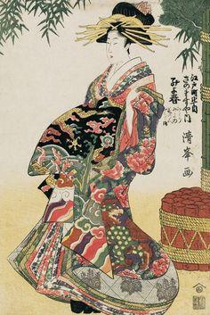 Ukiyo-e woodblock print, about Japan, by artist Torii Kiyomitsu II Japanese Art Prints, Japanese Art Modern, Japanese Drawings, Traditional Japanese Art, Japanese Artwork, Japanese Beauty, Geisha Kunst, Geisha Art, Japan Illustration