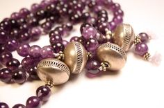 Amethyst and Silver Mala Beads Deep Purple Japa Mala by QuietMind, $175.00