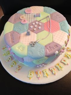 Patchwork Cake by Tracy . - - Patchwork Cake from Tracy … Patchwork Cake from Tracy … Patchwork Cake from Tracy … Welcome t - # Patchwork Cake, Quilted Cake, Sewing Machine Cake, Sewing Cake, Crazy Cakes, Pretty Cakes, Cute Cakes, Knitting Cake, 70th Birthday Cake