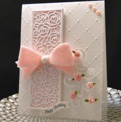 Bday card for Sarah 2016 Sue Wilson Rose Striplet die(popped up), hand made IO roses, MFT flourish, felt bow cut with Marianne Design die. Made by Peggy Dollar