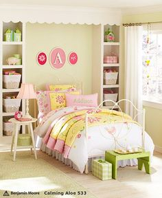 Pink Yellow and Green girls room