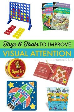 Use these toys and tools to help with attention and focus including visual attention needed for functional tasks and reading or writing.