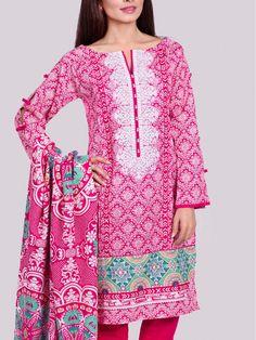 Bright Pink Embroidered Khaddar Dress