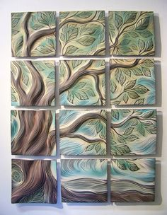 Tree of Life, handmade, ceramic wall art tile mural by Natalie Blake Studios Ceramic Tile Art, Clay Tiles, Ceramic Pottery, Pottery Art, Pottery Ideas, Tile Murals, Art Tiles, Mosaic Art, 3d Studio