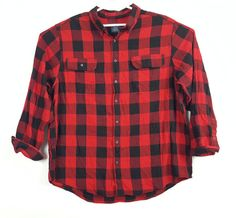 06e0c3eaaab4a9 Women's FADED GLORY size 2XL Red black plaid button front shirt long sleeve