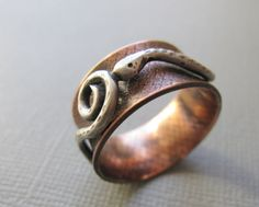 Reserved Copper Silver Serpent Ring by Armillatadesigns on Etsy