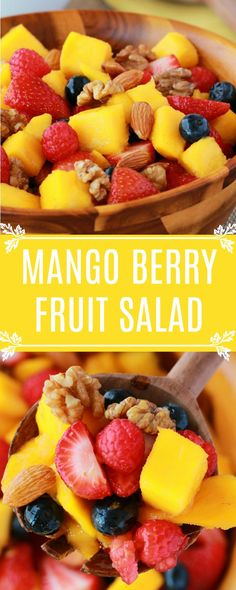 Sweet and juicy mango berry fruit salad with a sprinkle of nuts! This delicious summer fruit salad is wonderfully satisfying and ideal for breakfast. #vegan #lovingitvegan #fruitsalad #rawvegan #breakfast #glutenfree #dairyfree | lovingitvegan.com